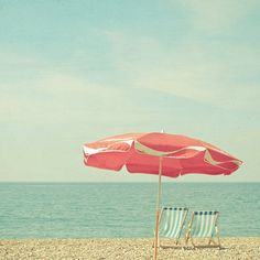 Landscape Photography, Seaside Decor, Beach Umbrella Art, Parasol, Pastel Red and Blue Bathroom Art, Summer, Retro - Deserted Beach on Etsy, $15.00