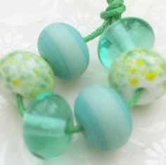 Lampwork Glass Beads Green Spacers by GlitteringprizeGlass on Etsy