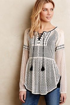 Anthropologie Large Lace-Front Peasant Blouse by Hazel Ivory Mesh Black Trim #Anthropologie #Blouse #Casual