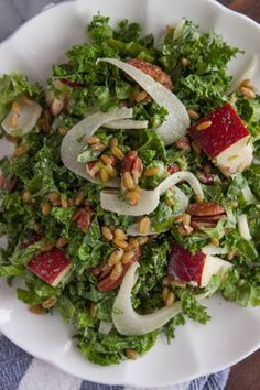 Shredded Kale and Pear Salad with Maple Tahini Dressing   Corner Kitchen