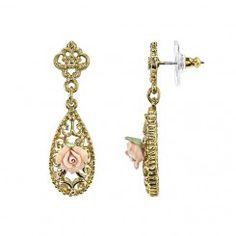 Downton Abbey® Gold-Tone Pink Porcelain Rose Drop Earrings