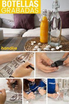 Cómo personalizar botellas de vidrio ➜ Aprende cómo decorar unas simples botellas de vidrio, haciendo grabados con multiherramienta. #Botellas #Vidrio #Multiherramienta #Dremel #Manualidades #Handfie Diy, Crafty, Recycle Bottles, Recycled Bottles, Dremel Tool, Pyrography, Bricolage, Do It Yourself, Homemade