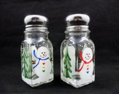 Snowman Salt Pepper Shakers Hand Painted Christmas Holiday Winter