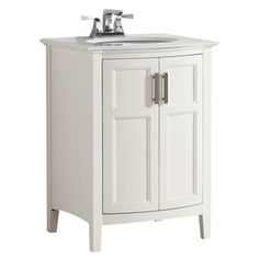 Simpli Home Winston Soft White 25-in Undermount Single Sink Birch Bathroom Vanity with Engineered Stone Top