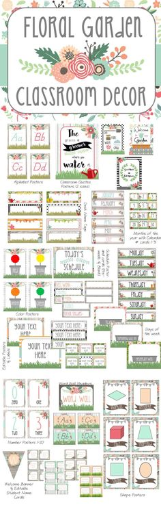 Floral Garden classroom decor. This theme will liven up your classroom and keep you smiling all year long! Over 150+ Pages!
