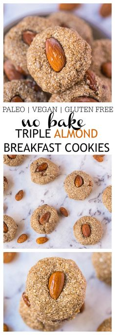 No Bake Triple Almond Breakfast Cookies- A delicious, no bake healthy cookie recipe which requires 1 bowl and 10 minutes tops to whip up! Using almonds three ways, these cookies are gluten free, paleo (Low Carb No Baking Cookies) Healthy Cookie Recipes, Healthy Cookies, Healthy Baking, Baking Recipes, Cookies Vegan, Paleo Dessert, Easy No Bake Cookies, Baking Cookies, Breakfast Cookie Recipe