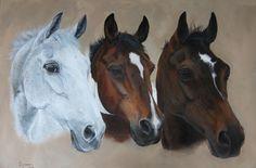 "'Bingo', 'Bob' & 'Skinny'. Ex-racehorses and cob by Tania Robinson, 2012. Acrylic on canvas 24"" x 18""."
