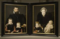 À gauche: Portrait de Adriann van Santvoort avec ses fils Guillaume et Adrian, 1563 Bernaert de Rijckere.  À droite: Portrait de Anna van Herstbeeke avec sa fille Catharina et son fils Jan, 1563 Bernaert de Rijckere