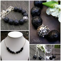 Lava Stone Necklace and Earrings by Milla's Place, via Flickr
