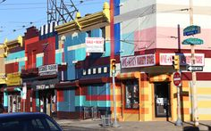 The murals of Haas & Hahn: Their most recent work in Philadelphia is even bigger, even jazzier. Philly Painting is two blocks (50 shopfronts) of audacious abstract stripes. It recalled, the Philadelphia Inquirer said, the grid paintings of the artist Piet Mondrian, albeit moving to a 'hip-hop beat'.