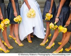 grey dresses, matching bouquets & shoes.  But I would do hot pink instead of yellow.