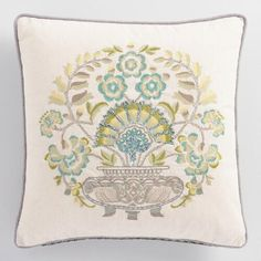 One of my favorite discoveries at WorldMarket.com: Trellis Chambray Embroidered Pillow