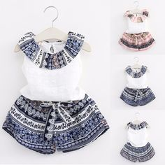 Baby Girls Party Dress Set New 2017 Summer Children's Clothes Fashion Girl Ruffled Lotus Neck Vest & Shorts Child Outfits 2Pcs #Affiliate