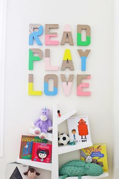 How to Make Colorful Wall Letters - Skip the expensive ones at the store! It's so easy and inexpensive to make your own wall letters! Letter Wall Decor, Kids Wall Decor, Playroom Decor, Diy Wall Art, Wall Art Decor, Playroom Ideas, Cardboard Letters, Diy Letters, Toddler Playroom