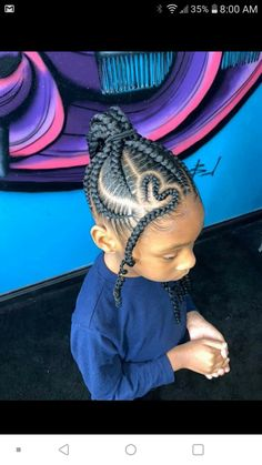 Braided updo with front heart - All For Hairstyles Little Girl Braid Styles, Kid Braid Styles, Little Girl Braids, Black Girl Braids, Braids For Kids, Braids For Black Hair, Locs Styles, Lil Girl Hairstyles, Black Kids Hairstyles