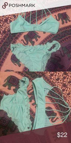 Tiffany Blue Cheeky Bikini Small/ Medium Medium Top Small Bottom ! Cheeky bottom identical coverage to Victoria's Secret ruffle Cheeky bottoms. flattering bandeau style top with beautiful detailing . La Hearts Swim Bikinis