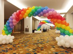 Rainbow balloon arch decoration in Marina Bay Sands for New Creation Church! Rainbow Party Decorations, Rainbow Parties, Rainbow Birthday Party, Unicorn Birthday Parties, Birthday Balloons, Birthday Decorations, My Little Pony Party, Rainbow Balloon Arch, Deco Ballon