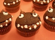 Monster cupcakes. Halloween food for our party!