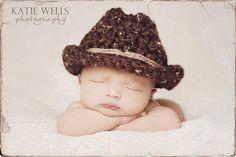 Newborn Photo Prop Baby Boy Cowboy Hat. $23.00, via Etsy.