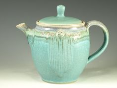 Pottery teapot in turquoise glaze 3.5 cups loose leaf. $84.00, via Etsy.