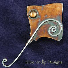 Patina Silver Stingray Brooch with Citrine, $78