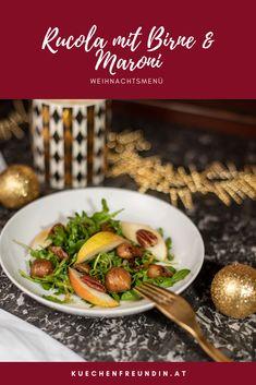 Ein veganer Wintersalat, der ein edler Auftakt für jedes Weihnachtsmenü ist. Mit Rucola, gebratenen Maroni, Birne und Pecannüssen. Mit einem raffinierten Dressing. Foodblogger, Advent, Dressing, Vegetarian Recipes, Best Healthy Recipes, Vegans