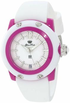 Glam Rock Women's GD4003 Miss Miami Beach White Dial Watch Glam Rock. $59.99. Date function at 6:00. Mineral crystal; purple plastic case with white cover; white silicone strap. Water-resistant to 100 M (330 feet). White dial with silver tone hands, hour markers and Arabic numeral 12; luminous; purple plastic bezel; stainless steel crown with white cabochon. Quartz movement. Save 80% Off!