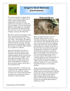 Oregon's small mammals (carnivorous), by the Oregon Department of Fish and Wildlife