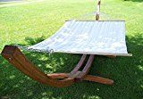 Petra Leisure 14 Ft. Teak Wooden Arc Hammock Stand + Quilted Beige Color, Double Padded Hammock Bed. 2 Person Bed. 450 LB Capacity - Best Hammock Reviews