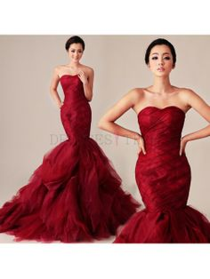 Long Strapless Mermaid Red Wedding Dress