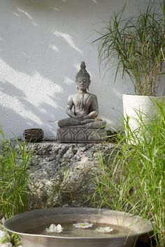 This is a disgrace to the Buddha. That is not correct. Bali Garden, Dream Garden, Garden Art, Garden Design, Meditation Garden, Meditation Space, Garden Water Fountains, Zen Style, Buddha Zen