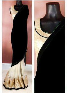 Black Color Georgette Saree - Rs. 1550.00