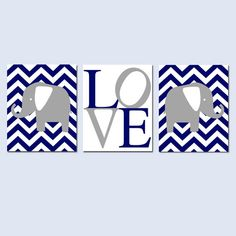 Chevron Elephant Love Trio - Set of Three 8x10 Nursery Prints - Kids Wall Art - Choose Your Colors - Shown in Navy Blue and Gray on Etsy, $55.00