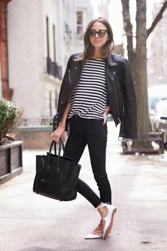 white lace up flats all black striped shirt something navy fashion blog