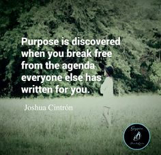 Purpose is discovered when you break free from the agenda everyone else has written for you. -Joshua Cintrón #sayspire #qotd #quoteoftheday #lifesaying #life #quotes #motivational #positiveaffirmations