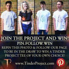 www.TinderProject.com COMPETITION TIME! To be entered into our prize draw, simply repin and follow! A winner will be chosen at random on the 26th of June 2013. Good luck!