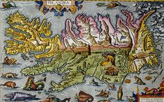 An antique map depicting an Iceland complete with erupting volcano and surrounded by an array of monsters.