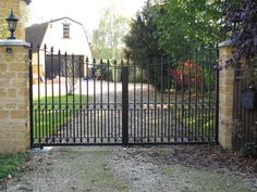 Traditionally known as wrought iron gates, most modern gates are in fact made from steel and occasionally cast iron. Metal Gates, Wrought Iron Gates, Front Gates, Entrance Gates, Driveway Gate, Fence, Modern Gates, Electric Gates, Gate Ideas