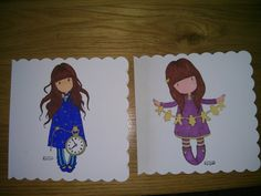 Judy gorjuss cards stamped and coloured in by my daughter