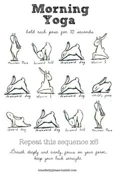 Well, not really bunnies, but bunny drawings. Ran across this cute little illustrated morning yoga routine sequence and had to try the sequence. Loved it. This is a great way to start any morning. ...