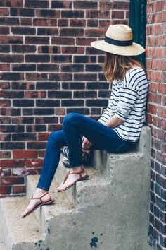 Can't go wrong with stripes and denim - women's fashion