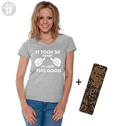 Awkwardstyles Women's It Took 50 Years V-neck T-shirt Birthday Shirt + Bookmark L Gray - Birthday shirts (*Amazon Partner-Link)