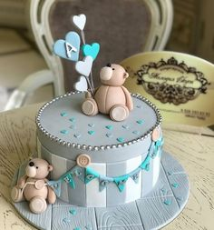 Bears Baby Shower Pie - per bambini - baby kuchen Birthday Cake Kids Boys, Baby Birthday Cakes, Teddy Bear Birthday Cake, 21st Birthday, Birthday Ideas, Torta Baby Shower, Baby Shower Cakes For Boys, Shower Baby, Baby Cakes