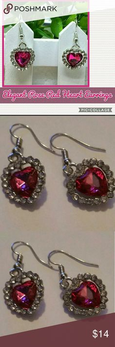 Rose Red and Silver Plated Dangle Hook Earrings Brand new,  Rose Red and Silver Plated Dangle Hook Earrings.  🌸Condition: 100% brand new  💟MATERIAL: Alloy & Crystal  🌸Style: Dangle Drop 💟Quantity: 1 pcs Set Fashion Earrings Jewelry Earrings