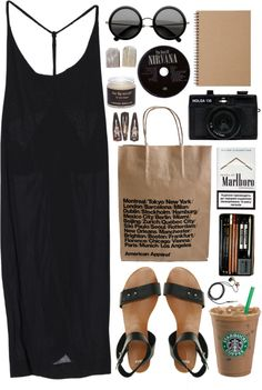 Relaxed summer style: loose black racerback tank maxi dress + black leather sandals + vintage sunglasses