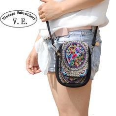 自由奔放に生きるエスニック刺繍バッグヴィンテージ刺繍キャンバスカバーショルダーメッセンジャーバッグ女性小さなコイン旅行ビーチ電話財布