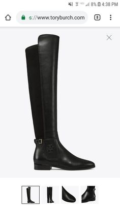 6372369f5 NIB Tory Burch WYATT OVER THE KNEE BOOTS BLACK LEATHER STRETCH R 578 Size  5.5