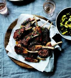 Grilled Lamb Chops with Marjoram Butter and Zucchini