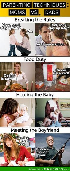 FunnyAnd offers the best funny pictures, memes, comics, quotes, jokes like - Moms VS Dads Funny Cute, Hilarious, Super Funny, Funny Memes, Jokes, Funny Ads, Funny Tweets, Funny Posts, I Laughed