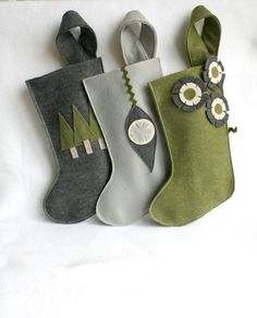 Christmas stockings in gray / grey silver , moss / sage / olive green , charcoal and ivory eco friendly felt - set of 3